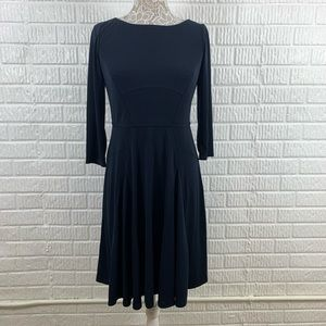 Ann Taylor Fit Flare Navy Dress 3/4 Sleeve 6 NWT